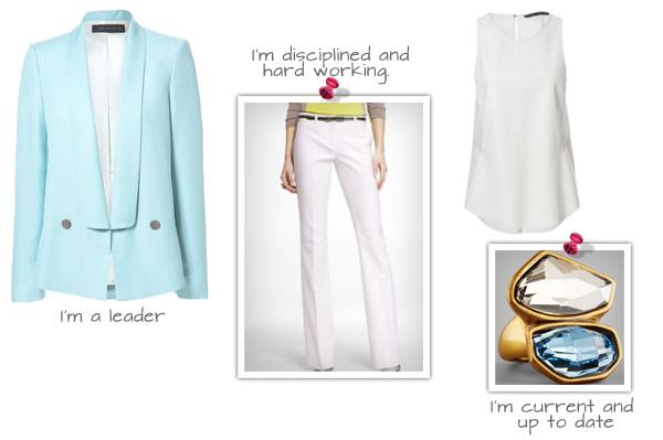 Tuxedo—Style Blazer (zara.com, $129), Faux Leather and Mesh Top (zara.com, $60), Columnist White Pant (express.com, $80), Oscar de la Renta Crystal Ring (neimanmarcus.com, $164)