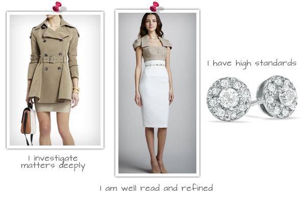 Chloe Trench, (bcbg.com, $179), Black Halo Two-Tone Tweed Dress (neimanmarcus.com, $390), Diamond Stud Earrings (Zales.com, $199)