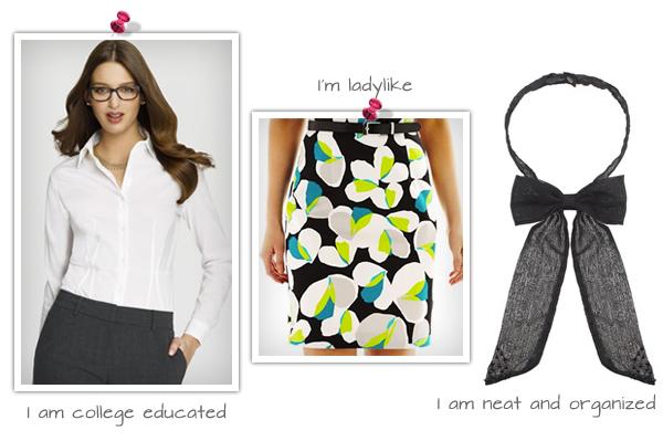 White shirt (anneklein.com, $79), Printed Pencil Skirt (jcpenny.com ,$24), Chiffon Bow Neck Tie (asos.com ,$14)