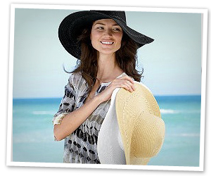 Try an oversized hat at the beach