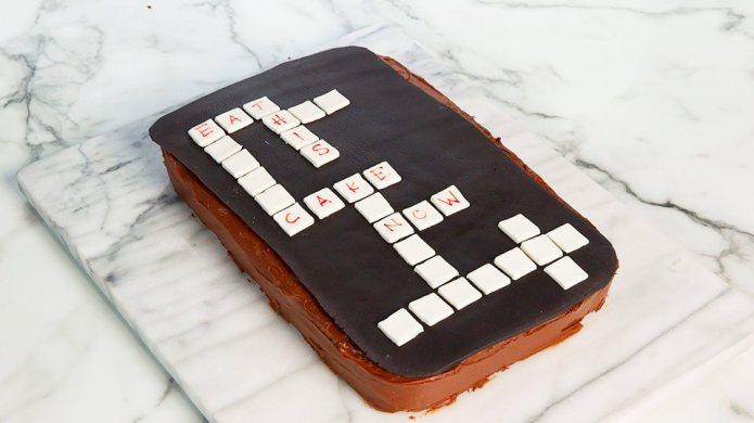 This crossword puzzle cake is easier