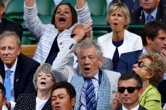 Check out these celebrities at the 2017 Wimbledon tournament: Ian McKellen & Maggie Smith
