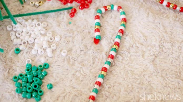 Simple candy cane ornaments your little