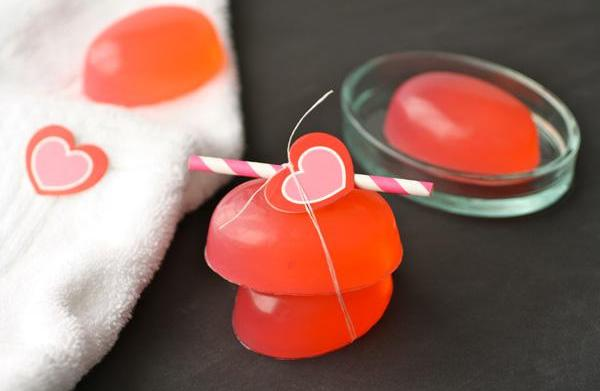 DIY pink peppermint glycerin soap