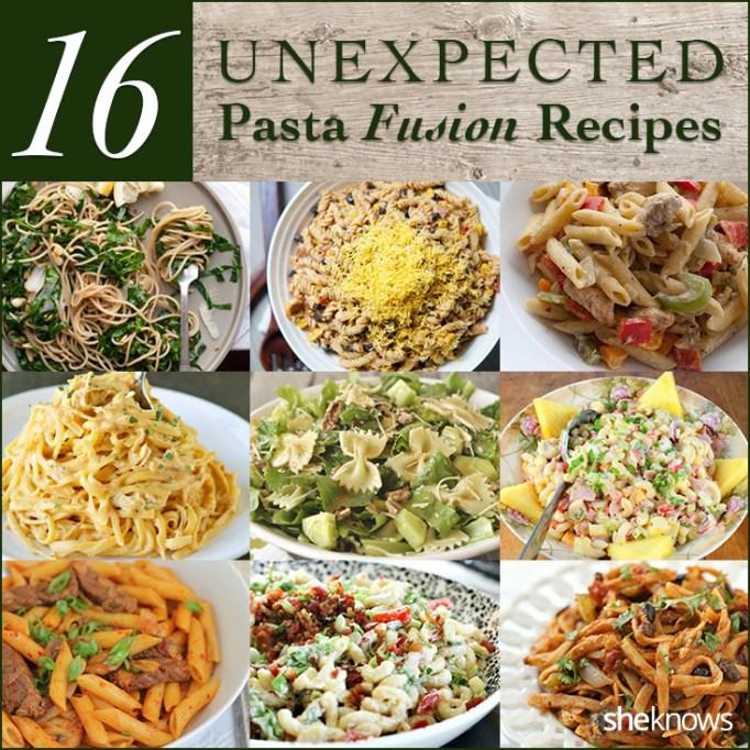 Unexpected pasta fusion recipes Pinterest image