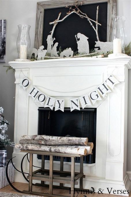 DIY nativity for fireplace mantel