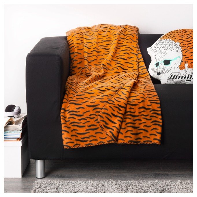 Halloween Decor at IKEA: This orange and black throw is great for Halloween