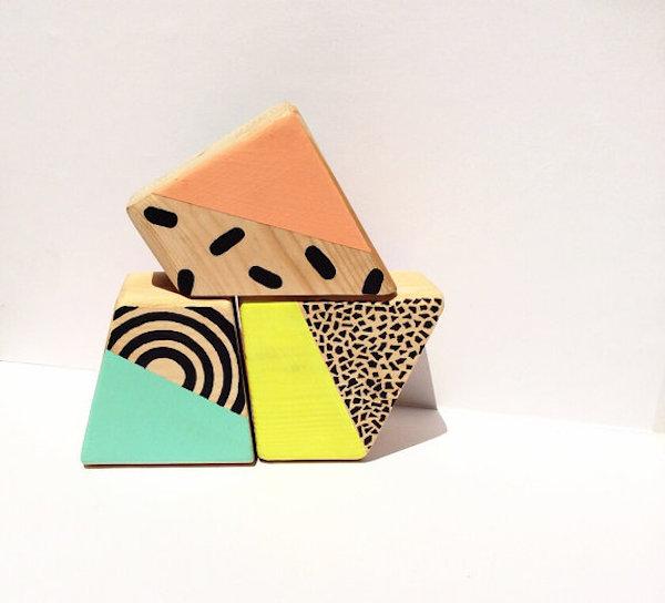 Unique Nursery Decor: Neon Wood Blocks