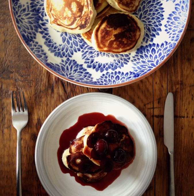 ricotta and cherry cassis pancakes