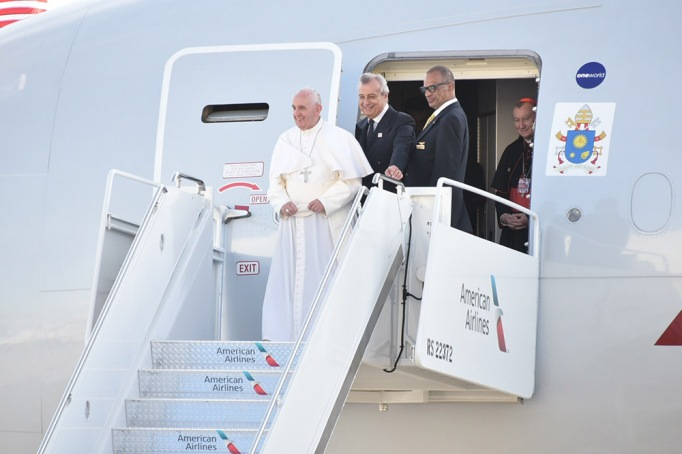 Pope Francis arrives at John F. Kennedy International Airport