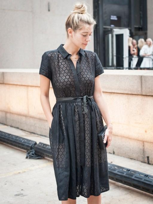 Fashion week street style collared dress