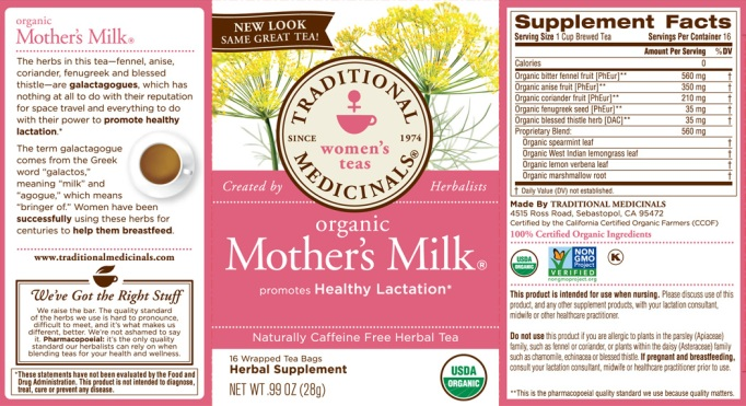 Mother's Milk lactation tea label