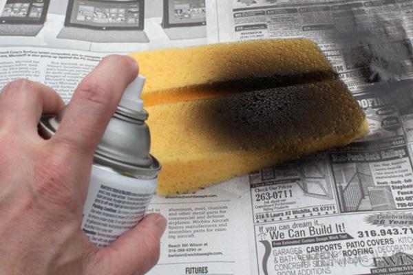 Postcard Cake Step 3: paint the sponge