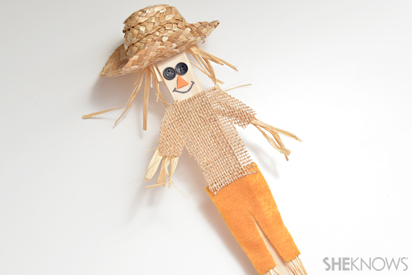 Paint stick scarecrow craft