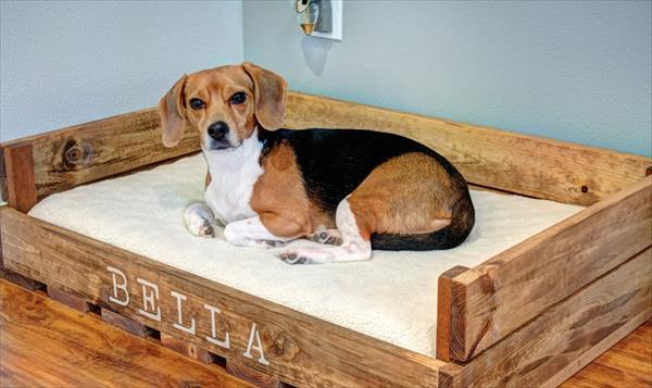Wooden pallet dog bed