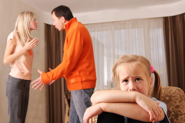 Divorced parents arguing