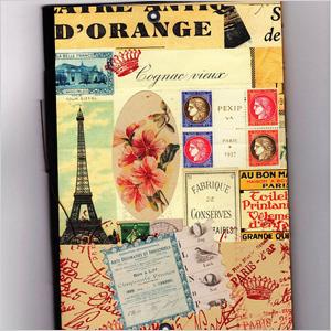 Paris postage inspired notebook