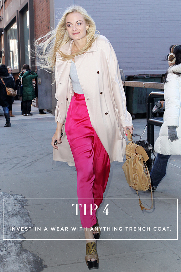 Secrets to Dressing Like a French Women: Tip 4: Live in a wear-with-anything trench coat