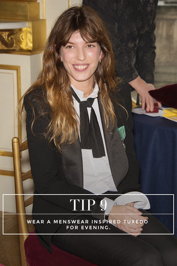 Secrets to Dressing Like a French Women: Tip 9: Wear a menswear inspired tuxedo for eveing