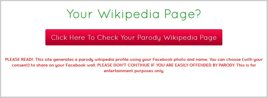 What's your parody Wkipedia page?