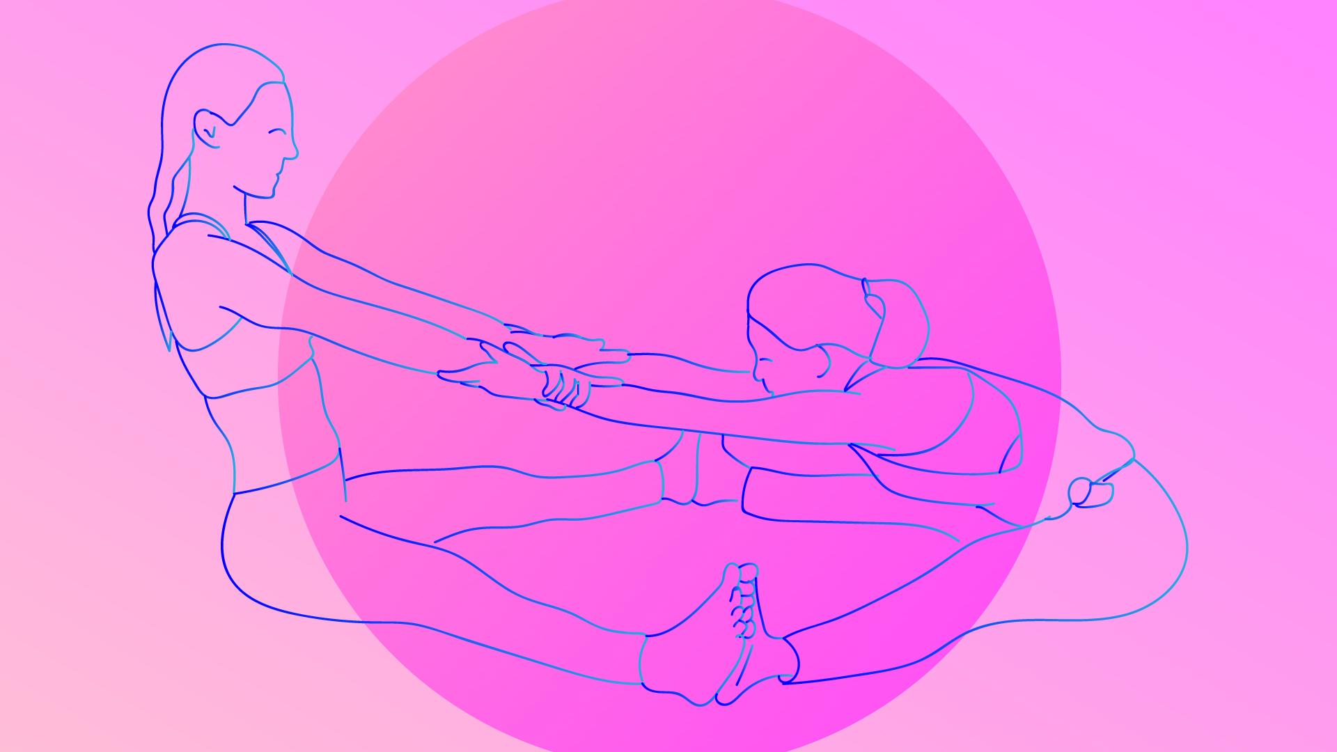 Partner Forward-Fold yoga pose