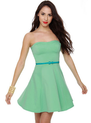 A Flare to Remember Mint Strapless Dress