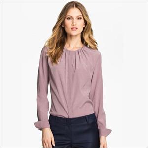 chic collarless silk stretch blouse