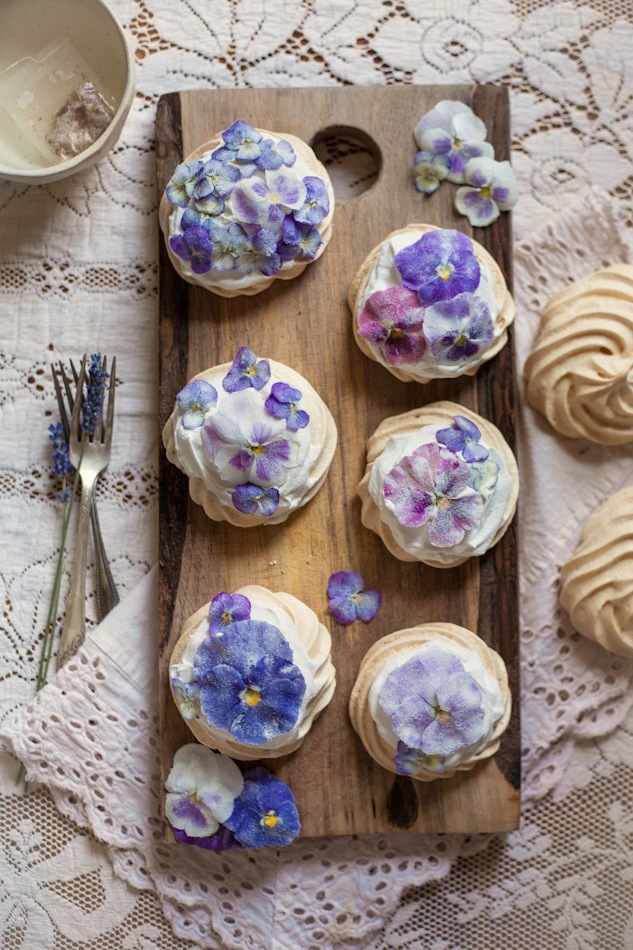 candied pansy and violet mini pavlovas