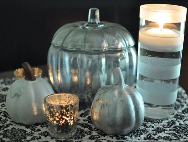 Mercury glass & wire pumpkins