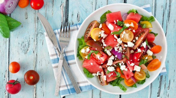 Watermelon and mixed tomato salad with