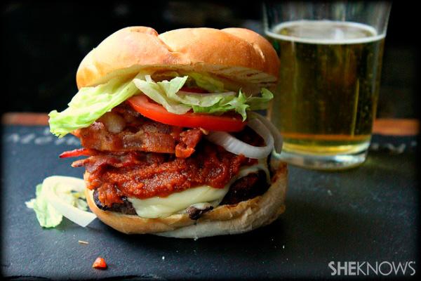 Bacon cheeseburger with peanut butter Sriracha ketchup recipe