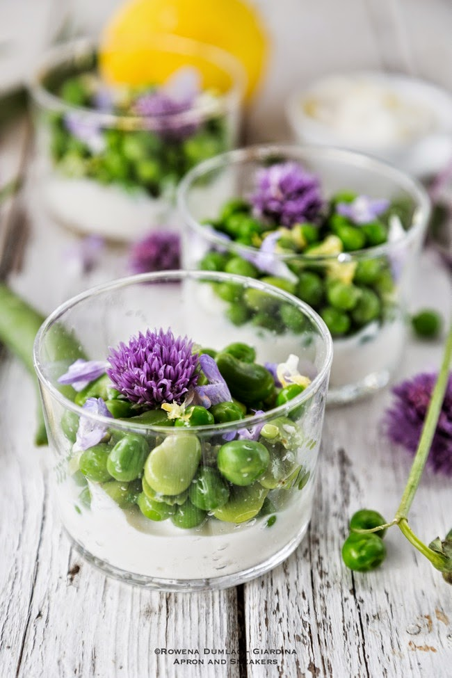 pea fava bean and herb flowers with ricotta cream