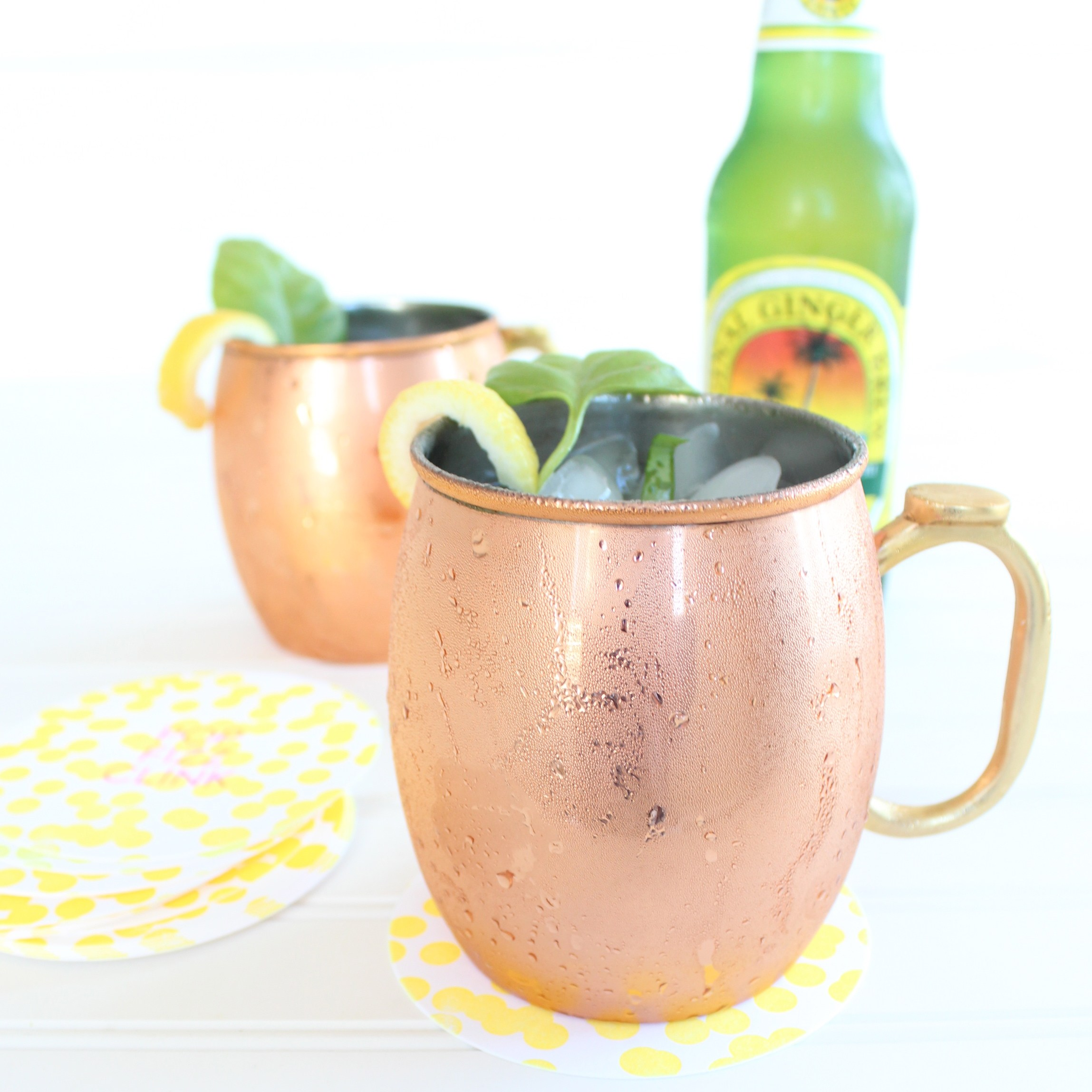 Peach basil Moscow mule recipe