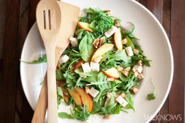 Summer nectarine salad with fresh basil dressing
