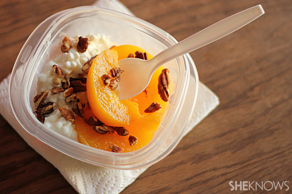 Peaches with Cottage Cheese and Nuts