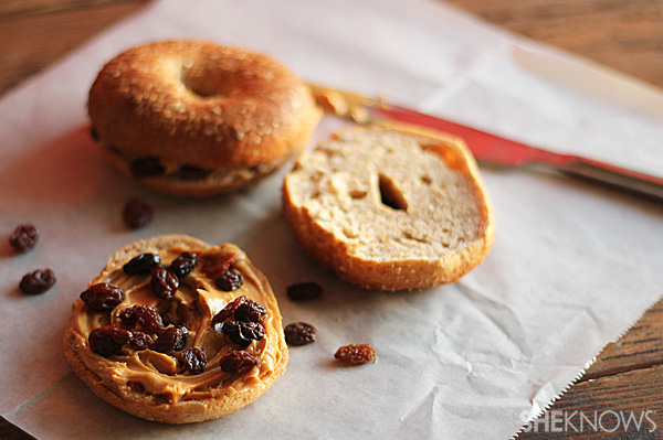 Whole Grain Bagels with Peanut Butter & Raisins