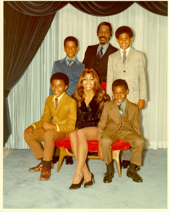 Ike & Tina Turner with their son and stepsons in 1972
