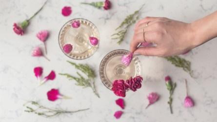 Sparkling pink celebration drinks are shown