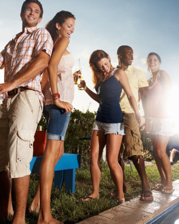 People having fun at a pool party