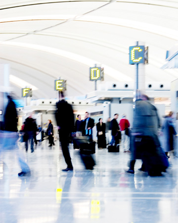 People rushing in airport