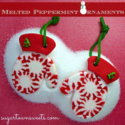 Melted pepperming ornaments