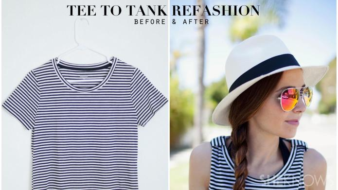 DIY T-shirt to tank top refashion