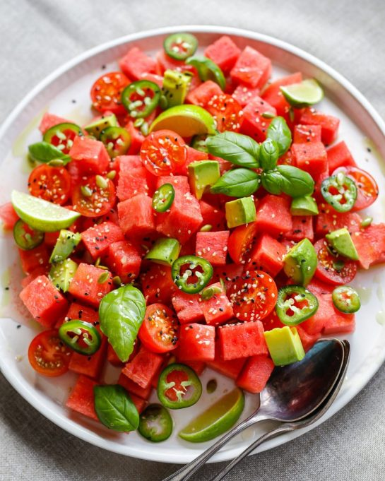 Easy Watermelon Recipes | You'll want to serve this spicy watermelon salad with everything.