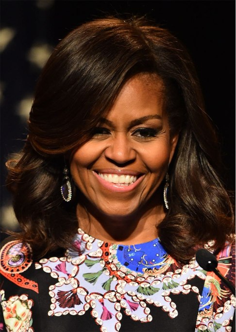 Michelle Obama Side Bangs