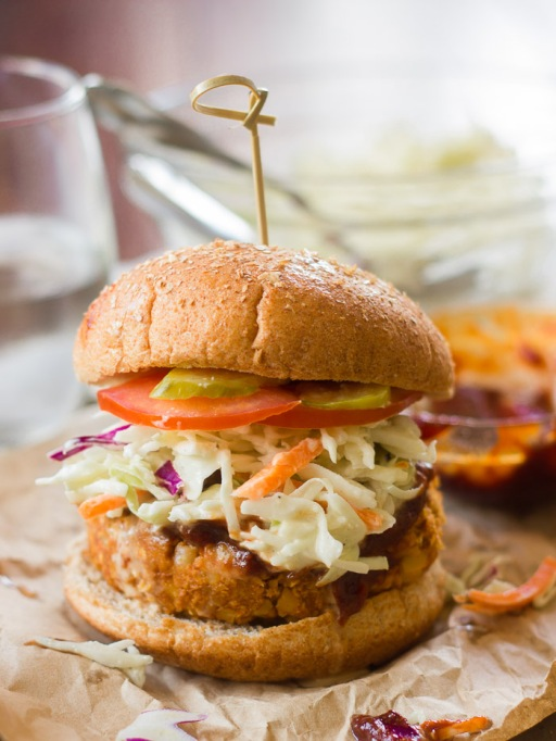 Vegetarian 4th of July: Vegetarian barbecue chickpea burgers are hearty enough for meat-eaters.
