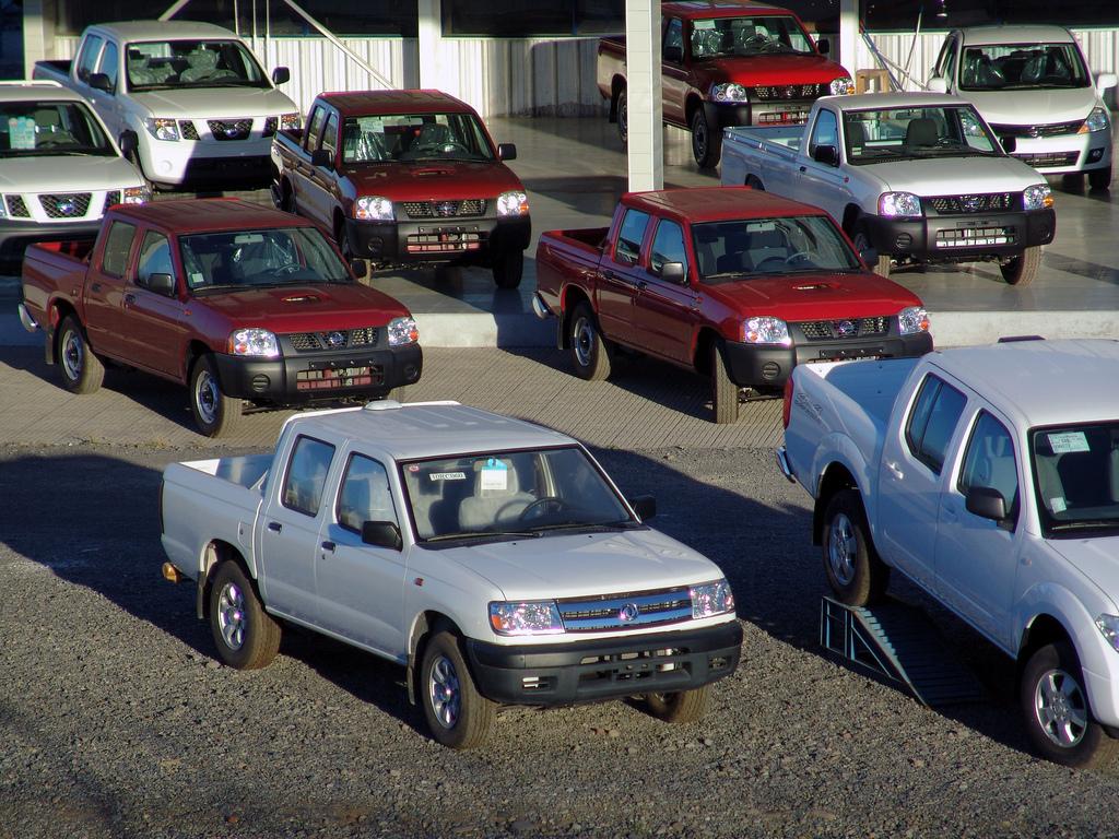 parking lot full of pickups