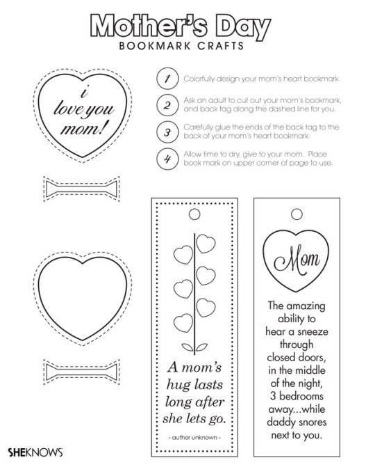 Mother's Day printable coloring page bookmark