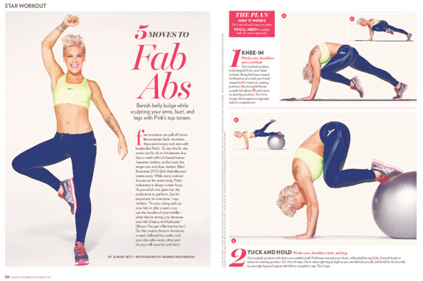 Pink told Shape that she works out for 60 to 90 minutes five days a week  with trainer Jeanette Jenkins. If she is on the road, she continues working  out by ...