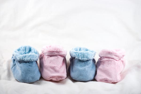 pink and blue baby booties