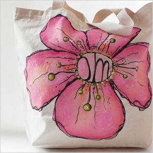 Pink Om flower cotton tote
